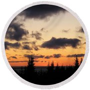 Round Beach Towel featuring the photograph Sunset And Dark Clouds by Barbara Griffin