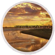 Round Beach Towel featuring the photograph Sunset And Gulls by Kathy Baccari
