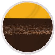 Sunset And Lake Michigan Round Beach Towel by Michelle Calkins