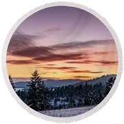 Sunset And Mountains Round Beach Towel