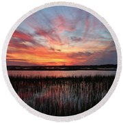 Sunset And Reflections 2 Round Beach Towel