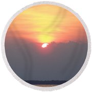 Round Beach Towel featuring the photograph Sunset And The Storm by Sandi OReilly
