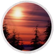 Sunset And Trees Two  Round Beach Towel