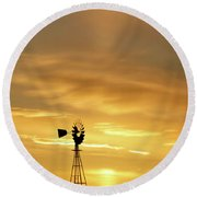 Sunset And Windmill 12 Round Beach Towel