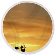 Sunset And Windmill 14 Round Beach Towel