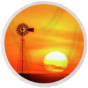 Sunset And Windmill 16 Round Beach Towel