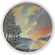 Sunset Angler Round Beach Towel