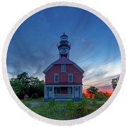 Sunset At Au Sable Point Lighthouse Round Beach Towel