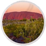 Sunset At Ayers Rock Round Beach Towel