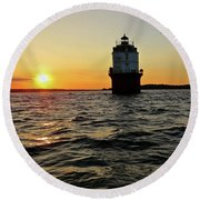 Sunset At Baltimore Light  Round Beach Towel by Nancy Patterson