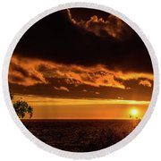 Round Beach Towel featuring the photograph Sunset At Bay Harbor by Onyonet  Photo Studios