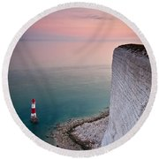 Sunset At Beachy Head Round Beach Towel