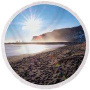 Sunset At Black Sand Beach Round Beach Towel