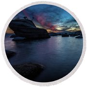 Sunset At Bonsai Rock Round Beach Towel