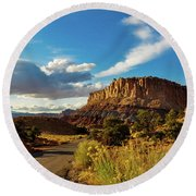 Sunset At Capitol Reef Round Beach Towel