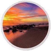 Sunset At Casperson Beach 2 Round Beach Towel