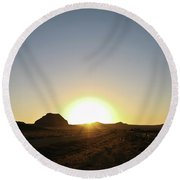 Sunset At Castle Butte Sk Round Beach Towel