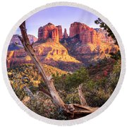 Sunset At Cathedral Rock Round Beach Towel by Alexey Stiop