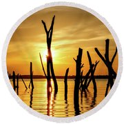 Sunset At Cedar Bluff -01 Round Beach Towel