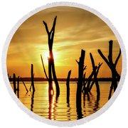 Sunset At Cedar Bluff -01 Round Beach Towel