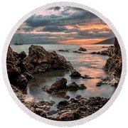 Sunset At Charley Young Beach Round Beach Towel