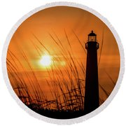Sunset At Cm Lighthouse Round Beach Towel