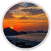 Sunset At Copacabana Round Beach Towel