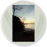 Sunset At Crystal Beach Round Beach Towel
