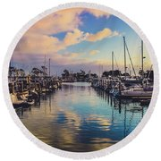 Sunset At Dana Point Harbor Round Beach Towel