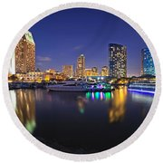 Sunset At Embarcadero Marina Park In San Diego Round Beach Towel