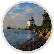 Sunset At Fairport Harbor Lighthouse Round Beach Towel