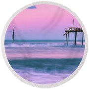 Round Beach Towel featuring the photograph Sunset At Frisco Fishing Pier Panorama by Ranjay Mitra