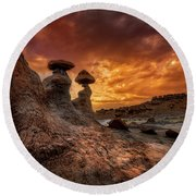 Sunset At Goblin Valley Round Beach Towel