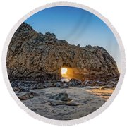 Sunset At Hole In The Rock Round Beach Towel by James Hammond