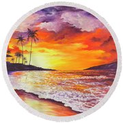 Round Beach Towel featuring the painting Sunset At Kapalua Bay by Darice Machel McGuire