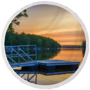 Sunset At Kearney Lake Round Beach Towel