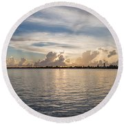 Sunset At Key Largo Round Beach Towel by Christopher L Thomley