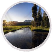 Sunset At Kings Creek In Lassen Volcanic National Round Beach Towel