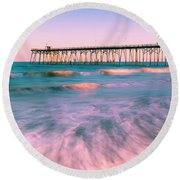 Round Beach Towel featuring the photograph Sunset At Kure Beach Fishing Pier Panorama by Ranjay Mitra