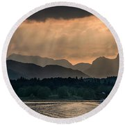 Sunset At Lake District Round Beach Towel