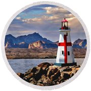 Sunset At Lake Havasu Round Beach Towel