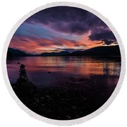 Sunset At Lake Mcdonald Round Beach Towel