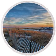 Sunset At Lighthouse Beach In Chatham Massachusetts Round Beach Towel