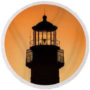 Sunset At Lighthouse Round Beach Towel
