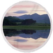 Sunset At Loch Tulla Round Beach Towel