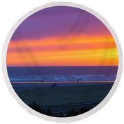 Sunset At Long Beach Washington Round Beach Towel