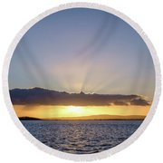 Sunset At Lough Derg Round Beach Towel