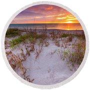 Sunset At Manisota Beach Round Beach Towel