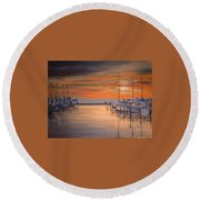 Sunset At Marina Round Beach Towel