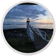 Sunset At Marshall Point Lighthouse, Port Clyde, Maine Round Beach Towel
